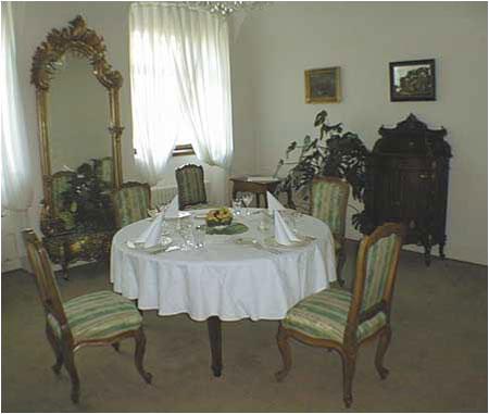 Medzi oknami je vysoké zrkadlo v neorokokovom ráme z 90. rokov 19. storočia. V pravo pri stene malý vyrezávaný príborník