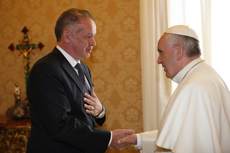 Pápež František prijal slovenského prezidenta Andreja Kisku